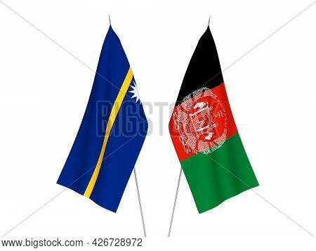 National Fabric Flags Of Republic Of Nauru And Islamic Republic Of Afghanistan Isolated On White Bac