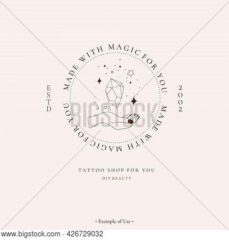 Celestial Spiritual Alchemy Esoteric Mystical Magic Talisman With Woman Hand, Gemstone, Stars Sacred