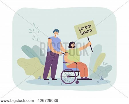 Woman Pushing Forward Disabled Person In Wheelchair. Flat Vector Illustration. Disabled Girl Holding