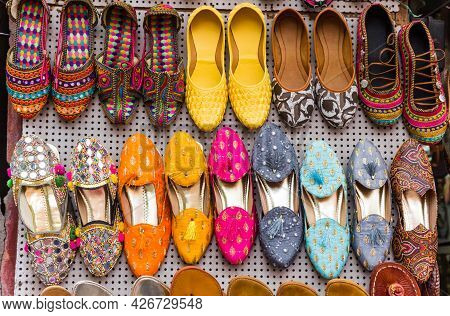 Traditional Colorful Indian Shoes On A Market In Jaipur, India