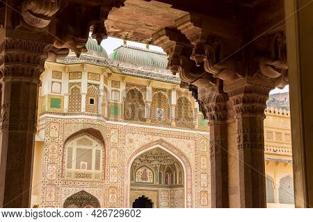Decorated Facade Of The Ganesh Pol Building At The Amer Fort In Jaipur, India