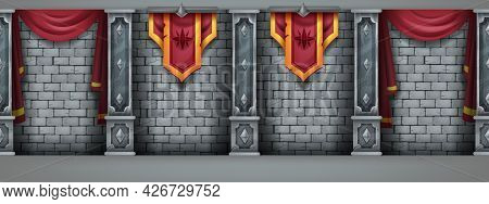 Stone Castle Wall Background, Brick Medieval Vector Texture, Palace Interior Illustration, Marble Co