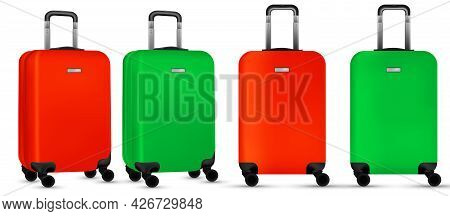 Bag Travel. Colorful Travel Plastic Suitcase Or Vacation Baggage Bag Collection Isolated On White Ba