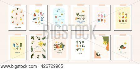 Summer Mood Greeting Card Hygge Poster Template. Welcome Summer Season Invitation. Minimalist Postca