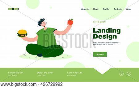 Man In Glasses Choosing Between Fruit And Junk Food. Cartoon Character Holding Apple And Hamburger F