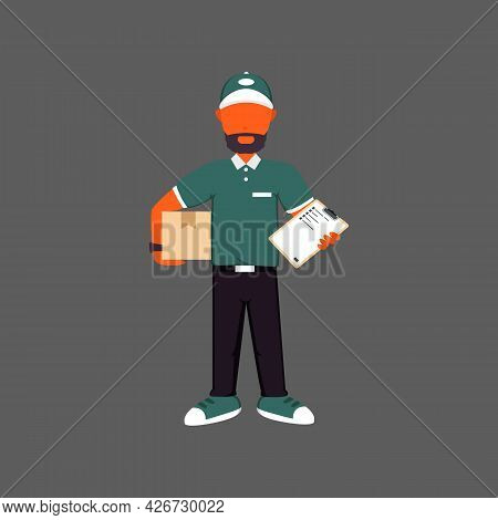 Courier Or Delivery Man Delivering Package Illustration With Unique Color