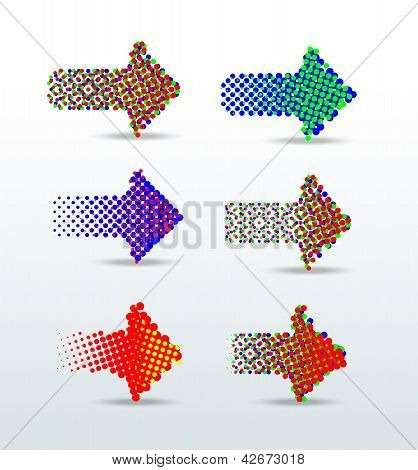 rgb dotted arrows vector illustration