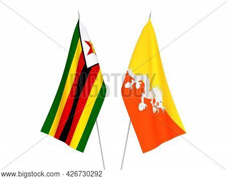 National Fabric Flags Of Zimbabwe And Kingdom Of Bhutan Isolated On White Background. 3d Rendering I