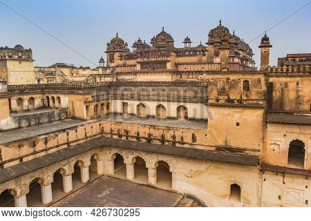 Historic Monuments Of The Palace Fort In Orchha, India