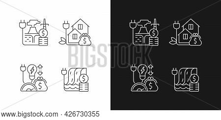Electrical Power Cost Linear Icons Set For Dark And Light Mode. Geothermal Energy. Green Pricing Pro