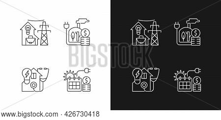 Electrical Energy Purchase Linear Icons Set For Dark And Light Mode. Biomass Power. Electricity Cons