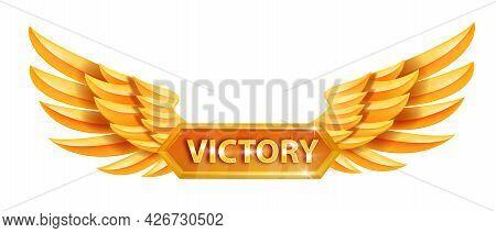 Angel Golden Victory Wings, Game Award Vector Badge, Level Up Achievement Reward, Metal Emblem. Luxu