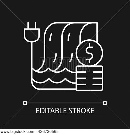 Hydropower Pricing White Linear Icon For Dark Theme. Water Dam For Production Of Electricity. Thin L