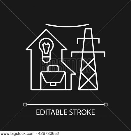 Electric Utility White Linear Icon For Dark Theme. Electricity Power Production. Energy Purchase. Th