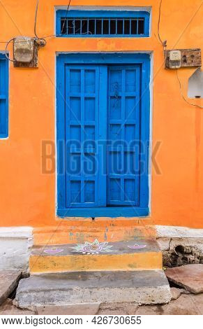 Colorful Door Of A Little House In Khajuraho, India