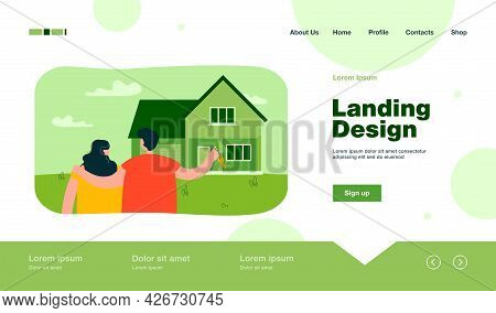 Married Couple Looking At New Home. Husband With Key Hugging Wife, House With Garage Flat Vector Ill
