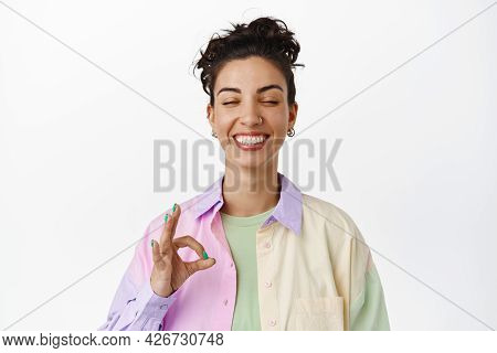Happy Smiling Woman Close Eyes, Showing Okay Ok Sign, Zero Gesture, No Proble, Praise Awesome Good T