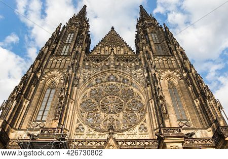 Front Facade And Towers Of The Vitus Cathedral In Prague, Czech Republic