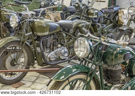 Rare Retro Motorcycle Of The Past Century In The Vehicle Museum