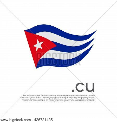 Cuba Flag. Stripes Colors Of The Cuban Flag On A White Background. Vector Design National Poster Wit