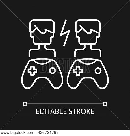 Player Versus Player Games White Linear Icon For Dark Theme. Users Compete Against Each Other. Thin
