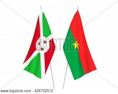 National Fabric Flags Of Burundi And Burkina Faso Isolated On White Background. 3d Rendering Illustr