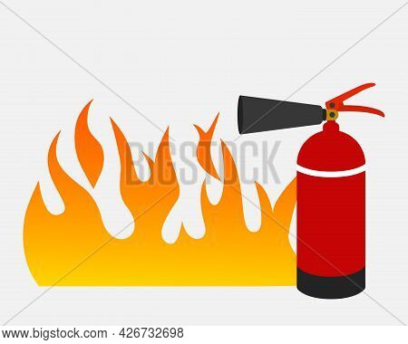 Red Canister With Foam For Extinguishing A Fire Against A Background Of Fire. Fire Extinguisher Icon