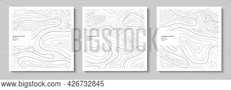 Set Of Topography Flyers. Outline Cartography Landscape. Collection Of Three Banners With Topography