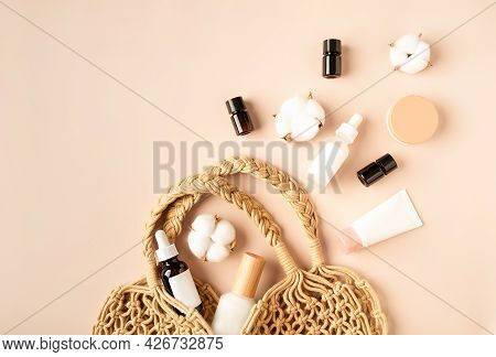 Natural Cosmetics In A Braided Cotton String Bag On Beige Background. Concept Of The Organic Cosmeti