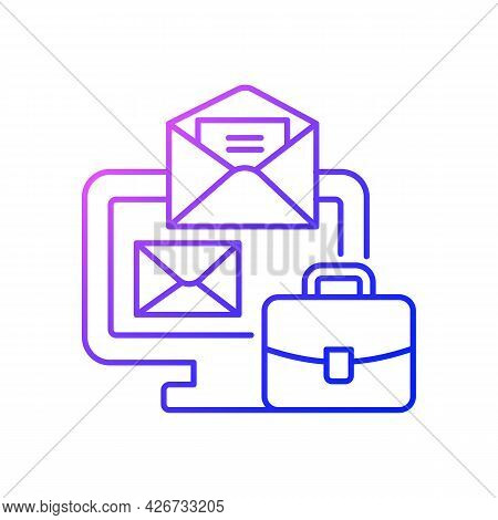 Online Mail Gradient Linear Vector Icon. Receive Business Email. Message For Corporate Information.