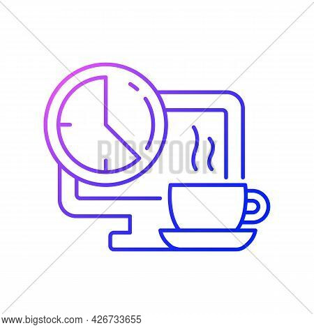 Breaks In Work Graphic Gradient Linear Vector Icon. Time For Rest On Workplace In Office. Work Monit