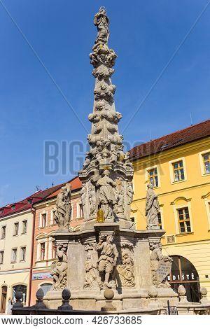 Kutna Hora, Czech Republic - September 14, 2020: Plague Column On The Central Market Square Of Kutna