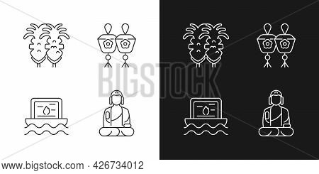 Taiwanese Culture Linear Icons Set For Dark And Light Mode. Fried Squid. Shan Buddha Museum. Religio