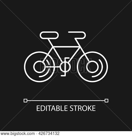 Bicycle White Linear Icon For Dark Theme.taiwan Cycling Travel. Riding Round Entire World. Thin Line