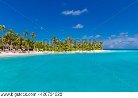 Untouched Tropical Beach In Maldives Island, Coconut Palm Trees With Turquoise Ocean Lagoon On The B