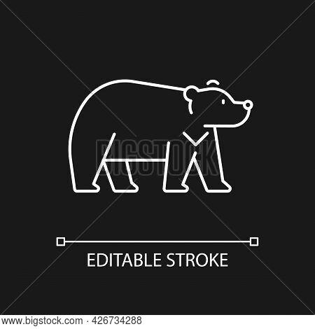Formosan Bear White Linear Icon For Dark Theme. Asiatic Wildlife Representation. Fur Taiwan Endemic.