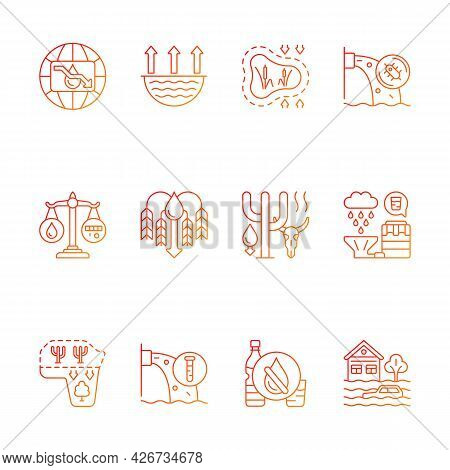 Global Water Crisis Gradient Linear Vector Icons Set. Water Resources Contamination. Reuse, Recyclin