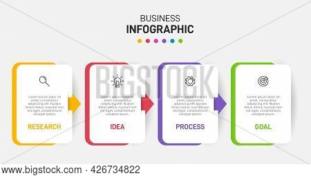 Infographic Design With Icons And 4 Options Or Steps. Thin Line Vector. Infographics Business Concep
