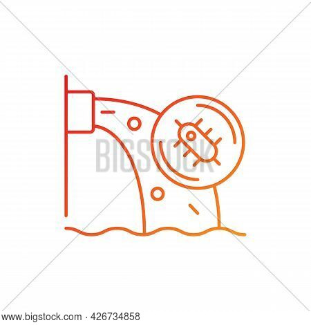 Water Pollution Gradient Linear Vector Icon. Water Resources Contamination. Toxic Chemicals In Groun