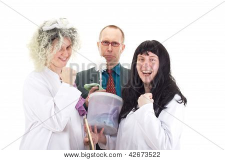 Female Cleaners In White Work Coats With Supervisor