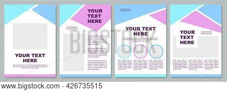 Blue And Purple Brochure Template. Company Info. Flyer, Booklet, Leaflet Print, Cover Design With Co