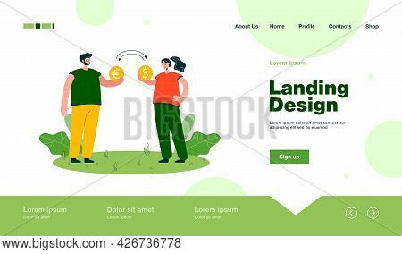 Man And Woman Exchanging Money. Male Character Giving Euro Coin, Female With Dollar Coin Flat Vector