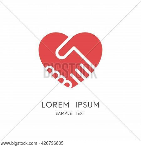 Handshake And Heart Logo - Shake Hands And Love Or Relationship Symbol. Business Partnership And Tea