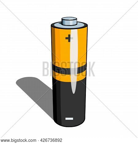 Aa Or Aaa Battery Icon With Shadow On White Background. Simple Vector Illustration
