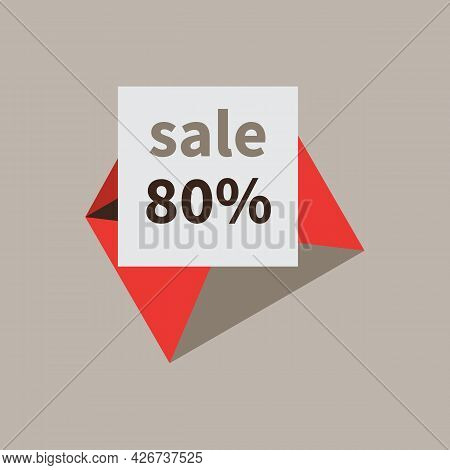 Open Mail Envelope. Percentage Discount Offer On White Paper Sheet. Sale And 80 Percent Discount. Em
