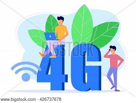 Vector Illustration, 4g Signal Connection, For Mobile User Interface, Digital Data Stream Transmissi