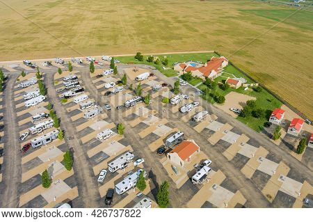 Aerial Panoramic View Of Travel Recreation In The Rv Vehicles Camping Park With The Resort