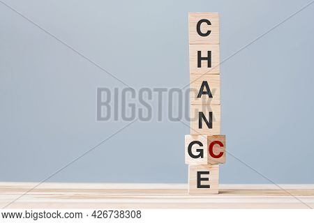 Wooden Cube Blocks Flipping Change To Chance Text. Organizational, Opportunity, Mindset, Attitude An