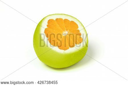 Weird Looking Cut Of Green Orange Fruit, Isolated
