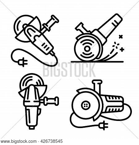 Angle Grinder Icons Set. Outline Set Of Angle Grinder Vector Icons For Web Design Isolated On White